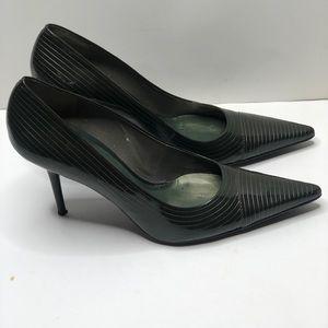 BCBG Girl Olive Green Pinstripes heels